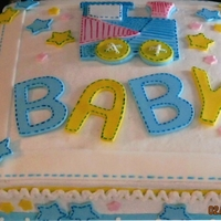 It's A Boy MADE THIS CAKE TO MATCH PAPERWARE, USED FONDANT DECORATIONS THAT I MADE