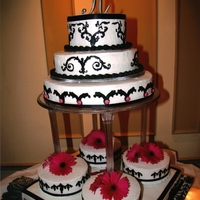 Never Make Son's Wedding Cake ALL DONE IN B.C., STENCIL DESIGN WITH ICING, FRESH FLOWERS