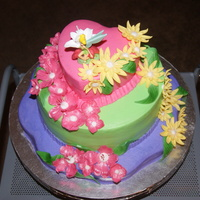 Tinker Bell Loves Flowers VERY COLORFUL CAKE FOR A 7 YEAR OLD, LOTS OF FONDANT FLOWERS, BUTTERCREAM ICING