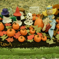 Its The Great Pumpkin Charlie Brown This is a chocolate cake with buttercream frosting. All decorations are made out of fondant. The moon was made with melted butterscotch