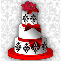 Black, Red And White Three Tier With Roses And Bows