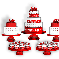 Red And White Cake Table