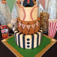 Vintage Baseball Themed Baby Shower Cake Vintage baseball themed baby shower cake.