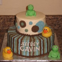 Duck Frog Baby Shower 6, 10 inch rounds. Ducks & frogs made of fondant. Name cut out with cricut cake.