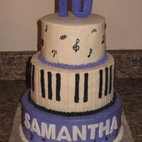16Th Piano Music Notes Clarinet 6, 8, 10 inch rounds. Buttercream icing. Fondant name and #16.