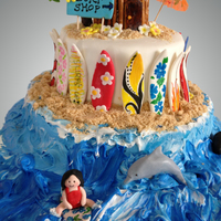 Surf's Up! Surf themed cake decorated with fondant, frosting and crushed cookies.