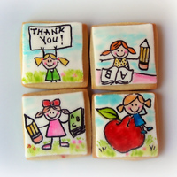 Kindergarten Teacher Thank You Cookies. Hand painted with food color.