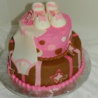 Baby Girl Shower Cake brown and pink 2 tier caker with stripes, pokla dots and butterflies