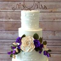Wedding Cake   Buttercream with edible lace and edible burlap.