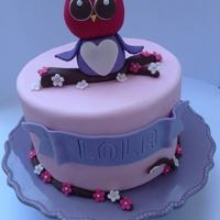 Owl Themed Cake I made this cake for my daughter to take to school for her 9th birthday. She wanted a cute owl topper and the cake to be pink and purple