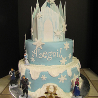 Frozen Cake Frozen cake. Castle is made from gumpaste. I used a lot of ideas I saw online and combined them to make this cake.