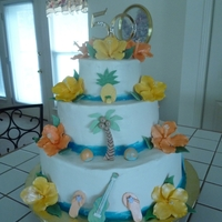 Hawaiian 50Th Anniversary Cake Gumpaste Flowers and Accents.Buttercream. Inspired by a cake I saw online by Freeds Bakery and Pink Cake Box.