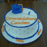 College Graduation Made with Butercream and fondant hat diploma and letters made with new Wilton molds.