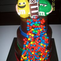 M & M Cake Chocolate Cake covered with chocolate buttercream. Fondant border. M & M Toppers are RKT. Love the way the colors pop on the chocolate...
