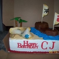 Happy Birthday Cj ! Covered in buttercream. Gumpaste map & flags, pirate ship is made from RKT and palm trees are pretzel rods.