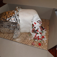 Chipotle Burrito My husband is a Chipotle nut, so what better birthday surprise, than a Chipotle cake?! I even talked them into giving me a couple of sheets...