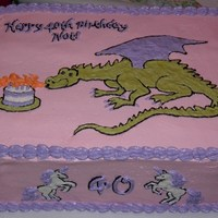 Dragon And Unicorn Birthday Cake 40th Birthday cake for a friend, who wanted pink and purple, with unicorns and dragon(s). Double high 9x13 sheet cake.
