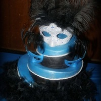 Masquerade Sweet Sixteen 3 tier Topsy Turvy cake. Top mask I put together since there just wasn't a mask that matched their blue and black theme. Hard to...