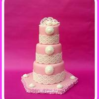 Pink & Lace Wedding Cake *