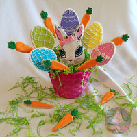 Easter Cookie Basket 2013 Royal Icing Decorated Cookies &Hand Painted Bunny - fondant bow