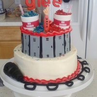 "Glee Birthday Cake  White cake with Buttercream frosting. Lockers, letters, megaphone, ""loser"" hand and slushie cups made from gumpaste. Microphone..."