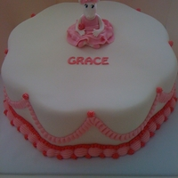 Angelina Ballerina Vanilla cake with mil chocolate ganache filling. Decorated in fondant with royal icing piping. Angelina made from gumpase. Made for my...