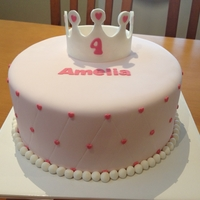 Princess Cake For Amelia A little friend's 4th Birthday with a princess theme. Vanilla cake with milk chocolate ganache decorated in fondant with gumpaste...
