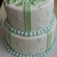 Bow And Dots 23cm vanilla cake with vanilla buttercream and 17cm chocolate cake with chocolate buttercream. Covered in ganache then fondant with...
