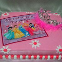 Disney Princess Fondant Cake   Made this for my 4-yr old niece's birthday. Moist chocolate cake frosted with home-made fondant.