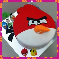 Angry Bird Cake Chocolate moist cake covered in Fondant.