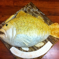 3D Fish Fondant Cake Chocolate cake with fondant covered Fish-shaped cake.