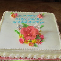 Happy Birthday Sheet cake with Buttercream icing and fondant flowers