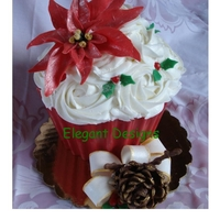 Giant Christmas Cupcake I told all my friends that they were only getting a cupcake for christmans - I just didn't tell them what size they were getting. I...