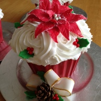 Giant Cupcakes Made 3 Of These Babies With Cake Ball Centers In Red Amp Green To Look Like An Ornament Vanilla Cake And Buttercream Ic Giant Cupcakes (made 3 of these babies) with cake ball centers in red & green to look like an ornament. Vanilla cake and buttercream...