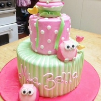 Green & Pink Girls Bday Cake