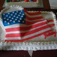 Flag Cake  I made this for my pappys 87th birthday...His bday was on flag day. Fondant flag, bottom cake was BC and Top cake was a diabetic cake with...