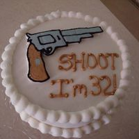 Hand Gun Birthday Cake   Just a quickie cake I made for a friends birthday...He is a big gun collector. BC icing with BC transfer.