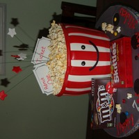 Popcorn Popcorn bucket made to match the party invites. White chocolate covered popcorn was used and was a big hit.