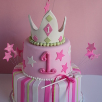 "Princess First Birthday Cake   Inspired by one of Pink cake box cakes. It is 9 and 6"" round. TFL"