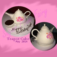 Tea Time Birthday Cake This teapot and tea cup are made from chocolate pound cake. The pot is torted and filled with cinnamon buttercream and frosted with SMBC...