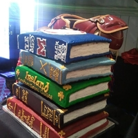 Stacked Book Cake 5 tier stacked book cake. All layers were chocolate cake with buttercream. TFL!