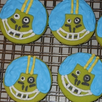 Zombie Football Players Cookies for my son's football team for Halloween