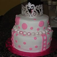 Tiara Cake Made everything from fondant. i loved making this cake because it came together quickly!!