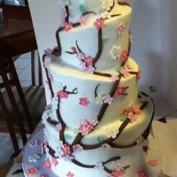 Cherry Blossom   another cherry blossom cake. My first topsy turvy ever.