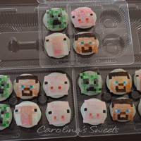 Chocolate Cupcakes Covered With Fondant Minecraft Face Painted Tfl chocolate cupcakes covered with fondant minecraft face painted tfl =)