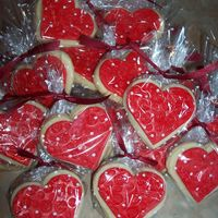 Valentine's Day Cookies   These are no fail sugar cookies with satin ice on top.First time i attempted this. Made for my sons prek class for their party tomorrow.