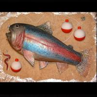 Rainbow Trout Cake This was my first 3-D Rainbow Trout cake. It was carved from 2 six inch chocolate square cakes that were filled with Butterfinger Candy Bar...