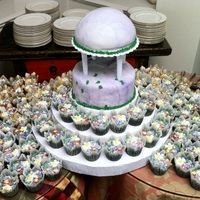 """roman Temple In Field Of Flowers"" Cake/cupcakes My very first wedding cake, made for the wedding of two dear friends. They picked two cakes I had done previously and combined them. The..."