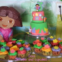 "Dora Cake With Cupcake Posse Nothing especially pretty. I was trying something new by being afraid of copyright infringements, so I did this while in my, ""I can&#..."