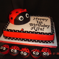 Ladybug 1St Birthday   Strawberry cake with strawberry bc. BC with modeling chocolate and fondant detail work. The ladybug on top is the smash cake